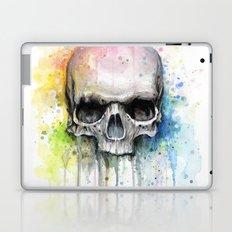 Skull Rainbow Watercolor Painting Skulls Laptop & iPad Skin