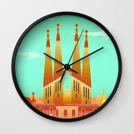 Barcelona Travel Poster Wall Clock