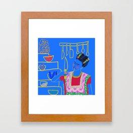 FRIDA KAHLO AND HER KNIFE Framed Art Print