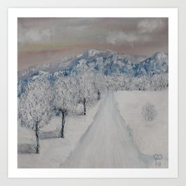 Winter Path, Original Contemporary Oil Painting, Modern Art, Fine Art by Lu aka Luna Smith Art Print