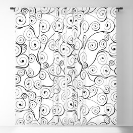Abstract black white hand drawn swirls pattern Blackout Curtain