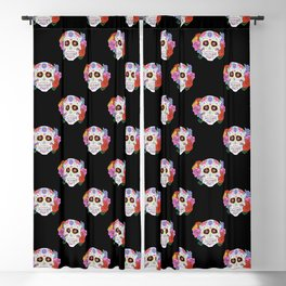 Sugar Skull with Flowers on Black Blackout Curtain
