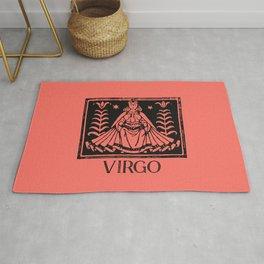 Virgo Vintage Zodiac on Living Coral Rug