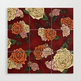 Red luxury flowers Wood Wall Art