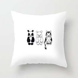 Little Animals Throw Pillow