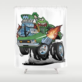 Seventies Green Hot Rod Funny Car Cartoon Shower Curtain