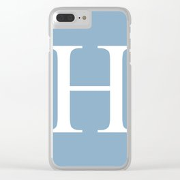 Letter H sign on placid blue color background Clear iPhone Case