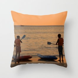 About to go Kayaking Palolem Throw Pillow