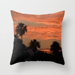 Desert Sunset With Palm Tress in Silhouette Throw Pillow