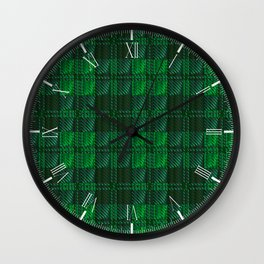 Dark Green Tartan Wall Clock