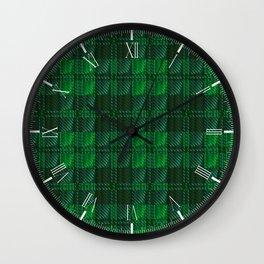 Dark Green Tartan Wall Clock