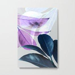 Blue Violet Leaves Metal Print