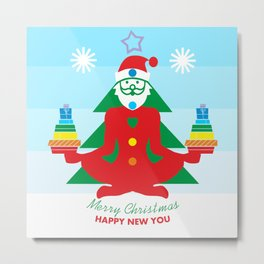 Namaste from yoga Santa Claus. Merry Christmas and Happy new you Metal Print