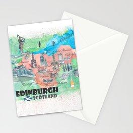 Edinburgh Scotland Illustrated Travel Poster Favorite Map Stationery Cards