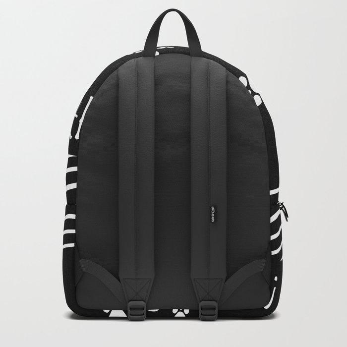 Together ! Black and white illustration . Backpack