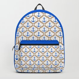 Seamless nautical pattern with blue anchors and rope on white background Backpack