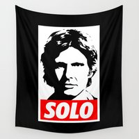 obey Wall Tapestries featuring Obey Han Solo (solo text version) - Star Wars by Yiannis