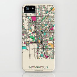 Colorful City Maps: Indianapolis, Indiana iPhone Case