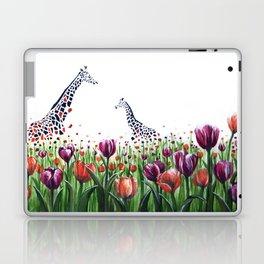 Giraffes in a field of Tulips Laptop & iPad Skin