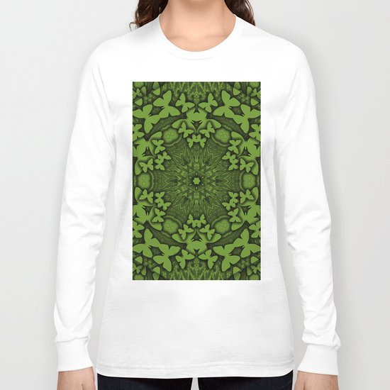 Butterfly kaleidoscope in green Long Sleeve T-shirt