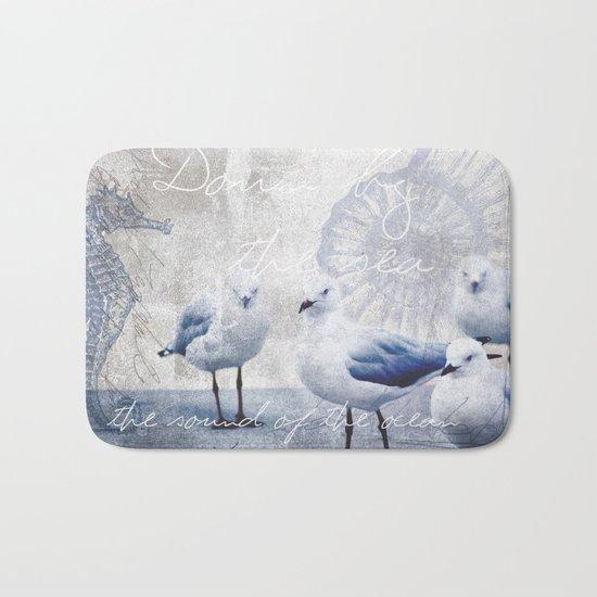 Sea gull ocean mixed media art Bath Mat