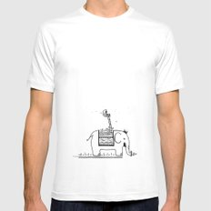 On My Elephant  White Mens Fitted Tee MEDIUM