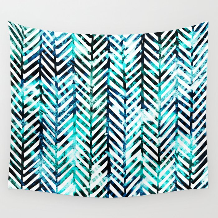 Aqua Herringbone Wall Tapestry By Inkedinred