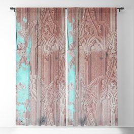 Abstract turquoise driftwood Blackout Curtain