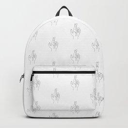Fingers crossed. Minimal hand line drawing Backpack