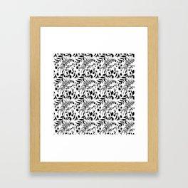 Black tropical floral leaves hand painted illustration Framed Art Print