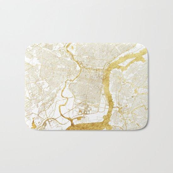 Philadelphia Map Gold Bath Mat