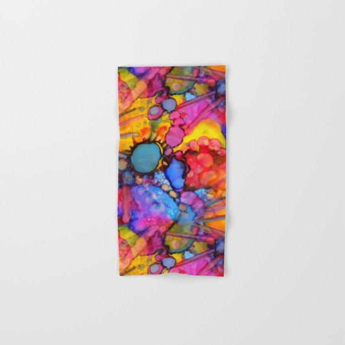 Rainbow Splats Alcohol Inks Hand & Bath Towel