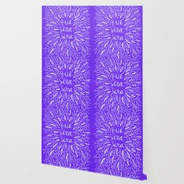 Whatever Will Be Will Be – Illustrated – White Ink on Lavender Wallpaper