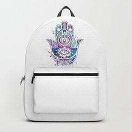 Hamsa Hand Watercolor Poster Wedding Gift Backpack