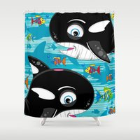 killer whale Shower Curtains featuring Killer Whale & Fish by markmurphycreative