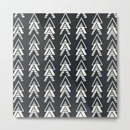 Mudcloth White Geometric Shapes in Black-ARROWS 2 Metal Print