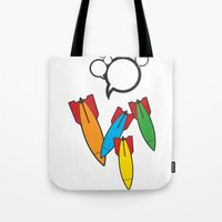 bombs away Tote Bags featuring Bombs Away by Cloz000