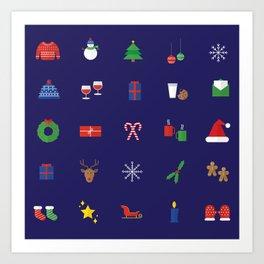 Holiday icons (darkar palette) Art Print