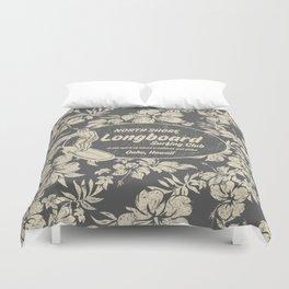 Club Surfing Longboard Logo and Hibiscus Hawaiian Print  Duvet Cover