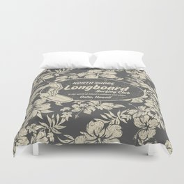 Club Surfing Longboard Logo and Hibiscus Hawaiian Print  Duvet Cover