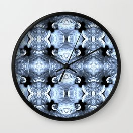 Shiny Blue Flower Design, Pattern Wall Clock