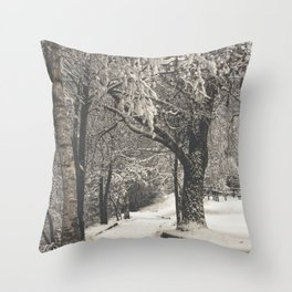 Walking in the Snow Throw Pillow