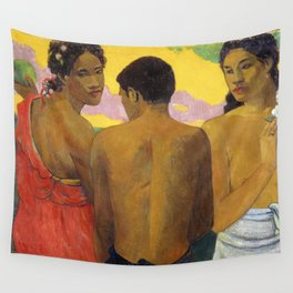 Three Tahitians by Paul Gauguin Wall Tapestry