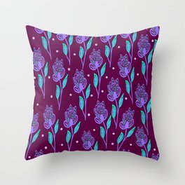 Abstract pattern with violet flowers on burgundy background, hand drawn illustration Throw Pillow