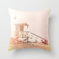 """bruno mars Throw Pillows featuring Bruno Mars """"Billionaire"""" Video Lifeguard Tower by SoCal Chic Photography"""