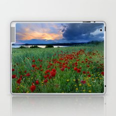 Spring poppies. Sunset at the lake. Laptop & iPad Skin