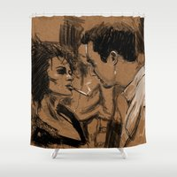 tyler spangler Shower Curtains featuring Marla & Tyler doodle by The Art Warriors