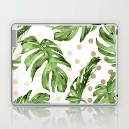 Simply Tropical White Gold Sands Dots and Palm Leaves Laptop & iPad Skin
