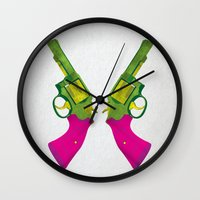 guns Wall Clocks featuring Play Guns by kakin