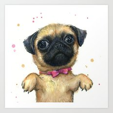 Cute Pug Puppy Dog Watercolor Painting Art Print